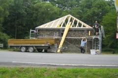 Einbau des neuen Dachstuhls